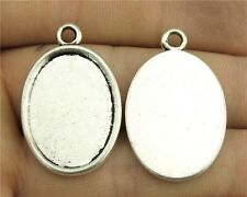 20pcs fit 18*25mm Cameo Cabochon Antique Bronze or Silver Oval Flat Base Setting