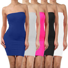 Elastic Tube Mini Dress Strapless Stretch Tight Body-con Seamless One Size BE