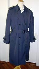 London Fog Mens Trench Coat Size 36 R Double Breasted Zip Out Lining Navy Blue