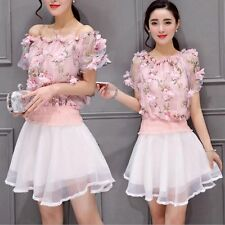 Womens Off Shoulder Top With White Skirt Korean Fashion Two Pieces Mini Dress