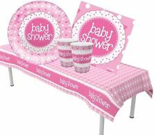 Pink Baby Shower Tableware New Baby Girl Decorations Supplies Party Polka Dots