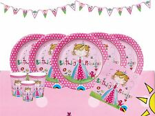 Childrens Birthday Party Tableware Princess Tiara Pink Decorations Girls