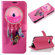 (Rose)3D Wind chimes Bling Quicksand Flip Wallet Case For Samsung Galaxy Model