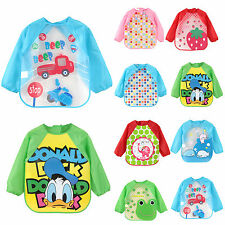 Boys Girls Long Sleeve Cartoon Feeding Bib Smock Apron Coverall Bibs Waterproof