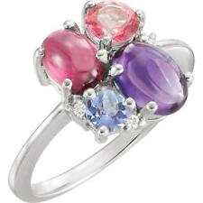 14 White Gold Amethyst, Garnet, Pink Topaz, Tanzanite and Diamond Cluster Ring