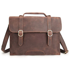 Men's Genuine Cow Leather Laptop Briefcase Business Attache Handbag Shoulder Bag