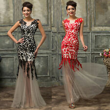 LONG LACE Evening Elegant Party Ball Gown Prom Wedding COCKTAIL Bridesmaid Dress