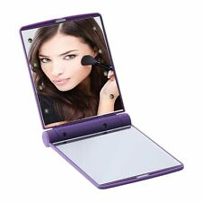 Lady Portable Makeup Cosmetic Foldable Pockets Mirror With 8 LED Lights SG~