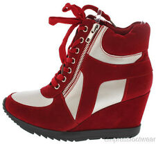 NEW WOMENS Red Silver Lace Up Zipper Trendy Fashion Hi Top Wedge Sneakers 8-10