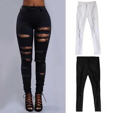 Women Stretchy Ripped Pants Ladies Slim Fit Skinny Jeggings Leggings Trousers