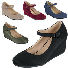 New Round Closed Toe Buckle Mary Jane Med Low Wedge Heel Womens Pump Sandal Shoe