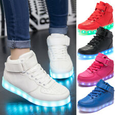 Kids Boys Girls LED Light Up 7 Color Luminous High Top Shoes Trainers Sneakers