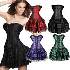 Burlesque Basque lingerie Corset Dress Waist Training Bustier Top+tutu Skirt 2XL