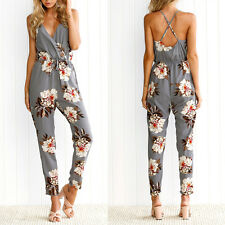 Fashion Women's Summer Straps V Neck Jumpsuits Sexy Backless Floral Rompers New