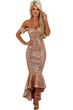 NEW GOLD SEQUIN OFF SHOULDER MAXI EVENING PARTY DRESS SIZE 8 10 12 14