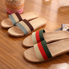 Mens Womens House Flax Linen Slippers Striped Open Toes Bedroom Indoor Shoes