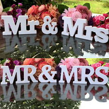 White Mr and Mrs Letters Sign Wooden Standing Top Table Wedding Decoration Z