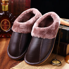 Mens Winter Warm Cow Leather House Slippers Cozy Lining Couples Slip On Shoes