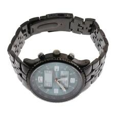 Mens Quartz Wrist Watch Date Analog Digital Black Stainless Steel Wristwatch