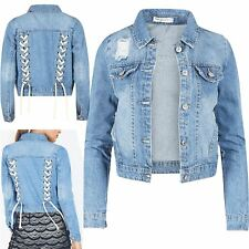 Womens Ladies Denim Jeans Back Lace Up Collared Coat Blazer Jacket Cropped Top