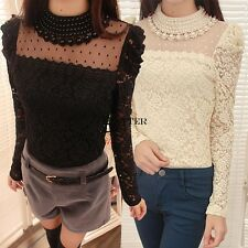 New Stylish Lady Women's Fashion Long Sleeve O-Neck Sexy Lace Top Blouse BT6U01