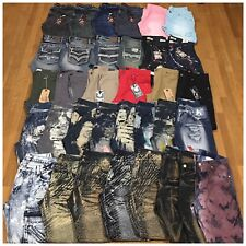 New Mens Size 34 Fashion Denim Moto Biker Zipper Paint Acid Washed Jeans Pants