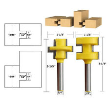 """2PC Tongue & Groove Router Bit Set 1/4"""" CNC Shank Woodworking Tool Chisel Cutter"""
