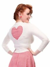 Collectif Jessie Red Gingham Heart 50s Style Cardigan