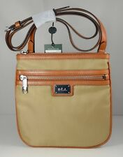 Ralph Lauren Nylon/Leather Trim Skinny Crossbody Bag Tan