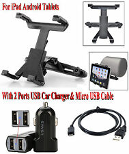 Universal Car Mount Seat Headrest For iPad Android Tablet Holder And Car Charger