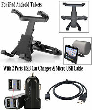 Car Mount Back Seat Headrest For iPad Tablets+ Micro USB Cable Cord+ Car Charger