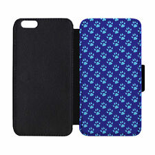 Paw Prints Blue Black Leather Wallet Flip Phone Case Cover for Apple iPhone 6 6S
