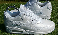 "BNWB Nike Air Max 90 Premium White ""Ice Pack"" Leather Trainers UK Size 5"
