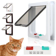 White Brown Frame 4 Way Locking Lockable Puppy Small Cat Dog Flap Pet Door S M L