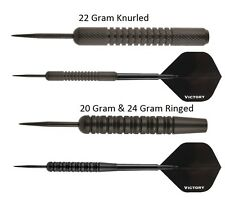 Victory Darts Black Brass Steel Tip Darts - Full Set - Choose 20g 22g or 24g