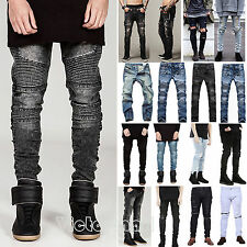 Vintage Men's Slim Fit Designed Ripped Knee Straight Biker Jeans Trousers Pants