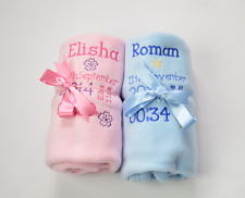 PERSONALISED BABY BIRTH  BLANKET - EMBROIDERED BLANKET -BABY GIFT