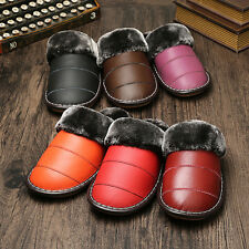 Waterproof Winter Warm Indoor Thick Shoes for Women Cow Leather Furry Slippers