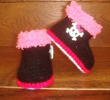 Baby Girl Goth Emo Punk Hand Knitted Booties/Boots Skull Crossbones 0-12M