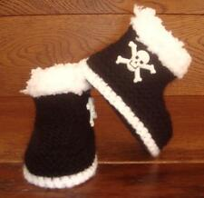 Baby Goth Emo Punk Hand Knitted Crochet Booties Boots Skulls 0-12M Black