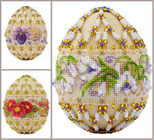 NEW UNOPENED Russian Counted Cross Stitch Beadwork KIT Riolis Easter Egg FLOWER