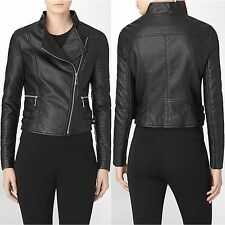 NWT CALVIN KLEIN WOMENS FAUX LEATHER CONVERTIBLE COLLAR MOTO JACKET SIZE MEDIUM