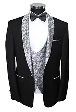 Black Semi Slim Fit Dinner Suit With Silver Paisley Shawl Lapel