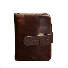 Brown Mens Genuine Leather Wallet Bifold Credit Card Holders Coin Zippered Purse