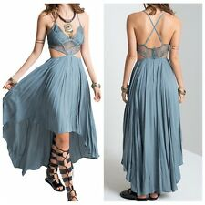 Vintage Hippie Boho Floral Lace Bodice Maxi Cocktail Party Backless Summer Dress