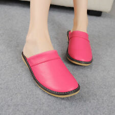 Comfy Womens Black Synthetic Leather Slippers House Indoor Shoes Water Resistant