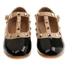 Kids Girl T-Strap Rivet Studded Mary Jane Infant Toddler Ballet Flat Shoes Black