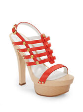 New Versace Women Studded Platform Slingback Sandal, Orange/Gold