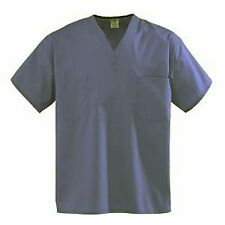 New Scrubs SCRUB TOP Womens Large NAVY BLUE MEDICAL UNIFORM CHEST POCKET TOP A47