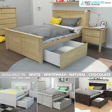 Double bed with storage drawers,Solid timber,White, Natural, Whitewash, Brown